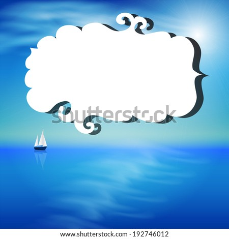Summer illustration with the ocean and yacht - stock photo