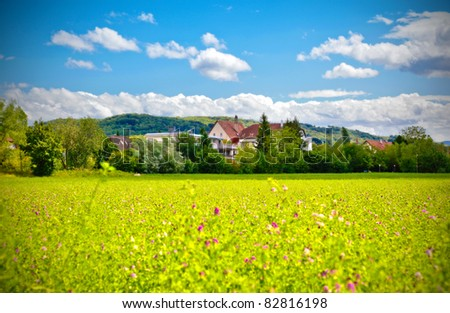 summer in country side in Switzerland - stock photo