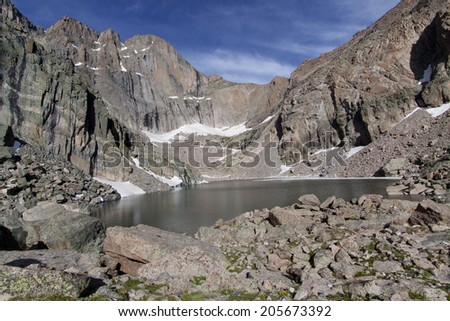 Summer in the Colorado Rockies - Chasm Lake, with Longs Peak in background. - stock photo
