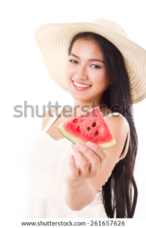 summer lady giving you watermelon - stock photo