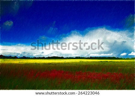 summer landscape. beautiful places in Eastern Europe. Baltics - stock photo
