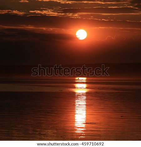 summer landscape beautiful sunset over the tranquil river - stock photo