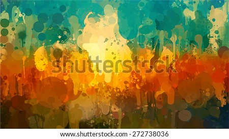 Summer landscape brush strokes background. Raster version - stock photo