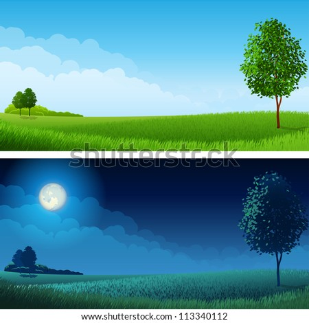 Summer landscape (day and night) - raster version - stock photo