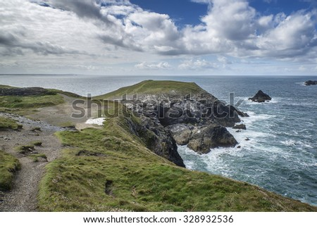 Summer landscape image of Trevose head in Cornwall England - stock photo