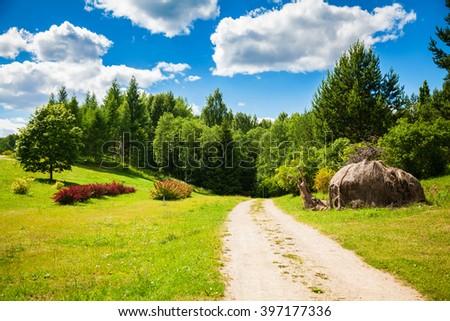 summer landscape in Vilnius Botanical Garden, Lithuania - stock photo