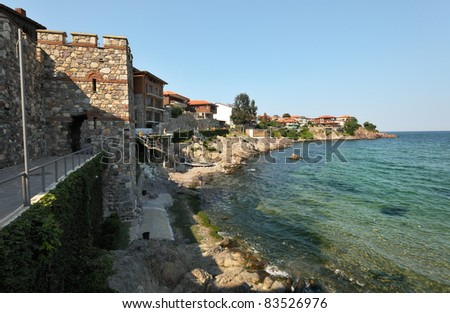 Summer landscape of Sozopol town in Bulgaria, with the fortification walls