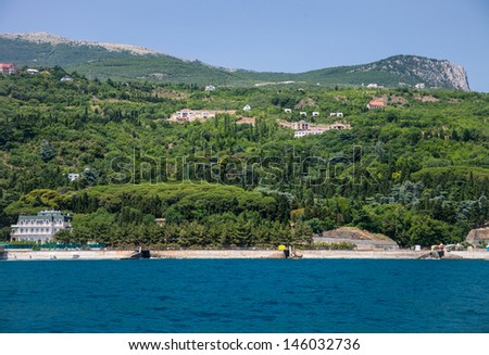 Summer landscape of the Black Sea and mountains in Crimea, Ukraine