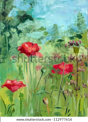 summer landscape oil painting - stock photo