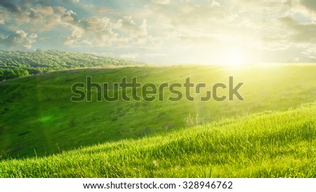 summer landscape on sunset with green field and beautiful clouds. Header for website - stock photo