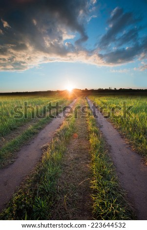summer landscape road to the horizon at sunset and dramatic clouds on a blue sky - stock photo