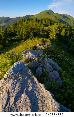 Summer landscape. Rocks in the mountains. View on top - stock photo