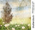 Summer landscape. Vintage background for design. - stock photo