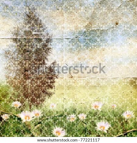 Summer landscape. Vintage background for design. - stock photo