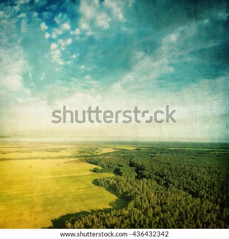 Summer landscape - vintage photo - stock photo