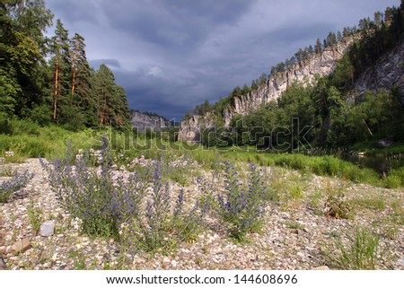 summer landscape White River South Ural