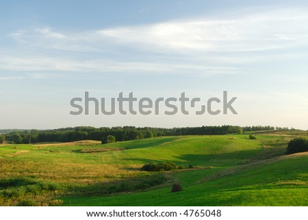 Summer landscape with clouds - stock photo