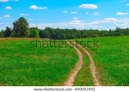 Summer landscape with country road, grass, trees, sky and clouds - stock photo