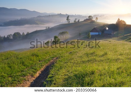 Summer landscape with fog over mountain village. Road on green meadow - stock photo