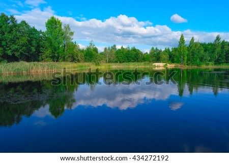 Summer landscape with forest lake and blue cloudy sky