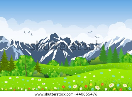 Summer landscape with meadows and mountains.