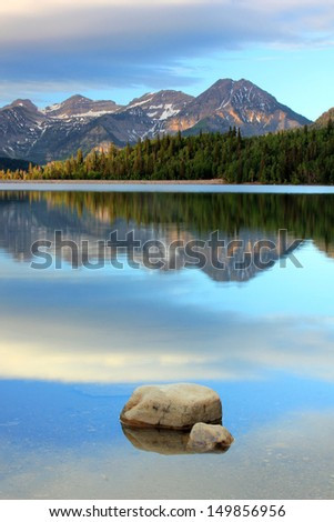 Summer landscape with Mt. Timpanogos and Silver lake in the Wasatch Mountains, Utah, USA. - stock photo