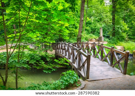 summer landscape with river in green park - stock photo