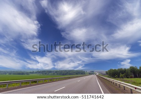 Summer landscape with road, cloudy sky. Road, way, road, road