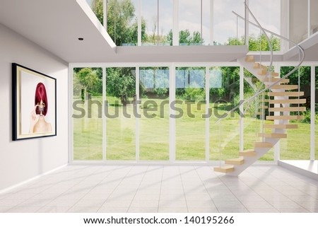 Summer loft with picture and spiral stairs - stock photo