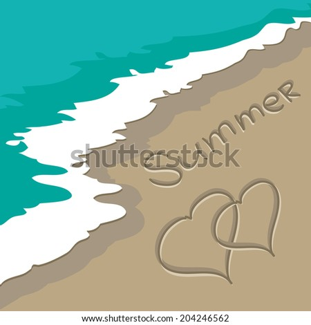 summer love with Heart written by hand in sand on a beach with a blue green wave sea raster - stock photo