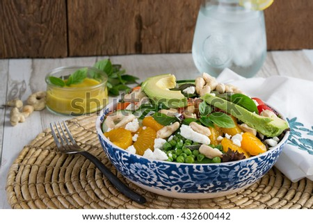 Summer means salad! Fresh healthy vegetable salad that will make your mouth water - stock photo
