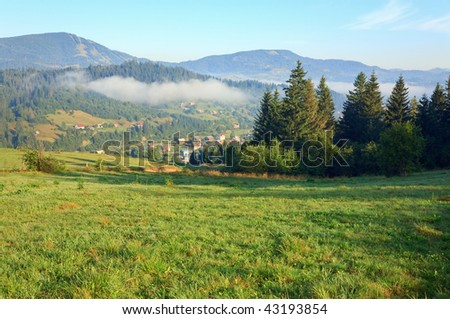 summer misty mountain village (countryside landscape)
