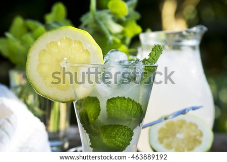 Summer mojito lemonade drink with lime, lemon and mint in mason jar in the field