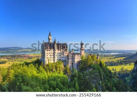 summer morning at Neuschwanstein Castle, Fussen, Bavaria, Germany - stock photo