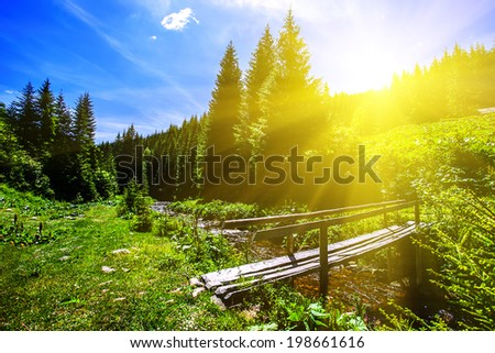 Summer mountain landscape with clouds - stock photo