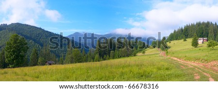 Summer mountain landscape with rural road and house. Two shots composite picture. - stock photo