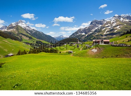Summer mountain view to Biberkopf mount (Warth, Vorarlberg, Austria). - stock photo