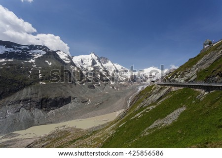 Summer mountains landscape. Glacier Pasterze, Austria, Grossglockner high mountain road