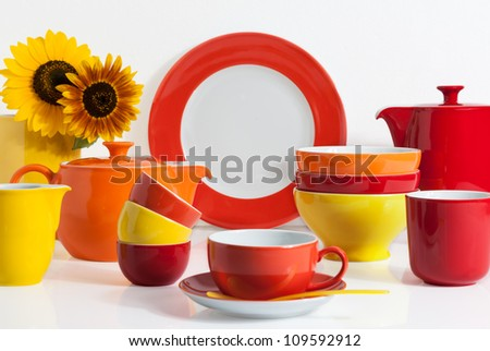 Summer Multi colored Dishware with Sunflower