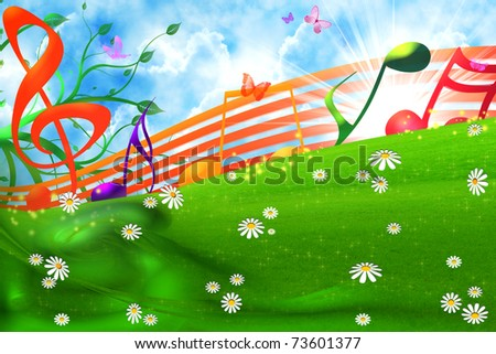 SUMMER MUSICAL BACKGROUND - stock photo