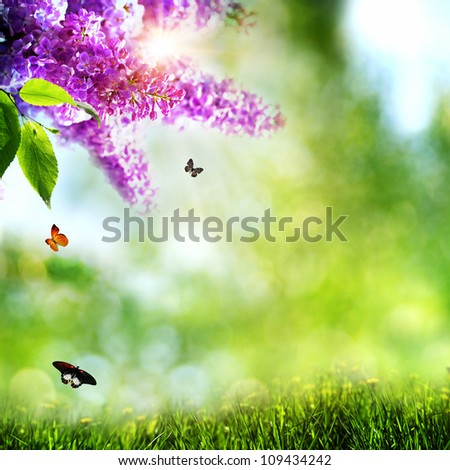 Summer natural backgrounds with lilacs,  butterfly and beautiful bokeh - stock photo