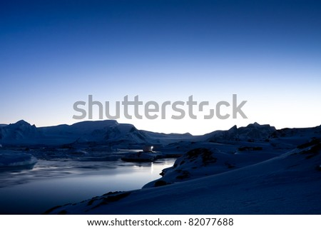 Summer night in Antarctica. Beautiful winter background. - stock photo