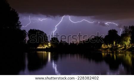 Summer night storm landscape - stock photo
