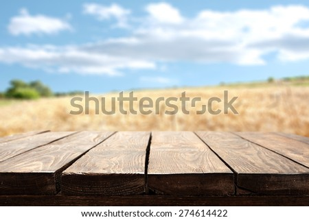 summer old table and sky  - stock photo