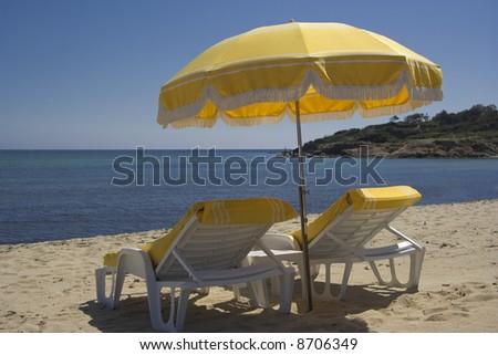 summer on the beach - saint-tropez, french riviera - stock photo
