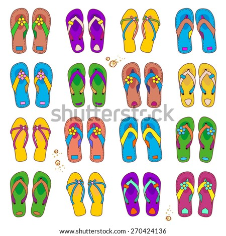 Summer or vacation design elements - set of 16 colorful pairs of beach flip-flops isolated on white background