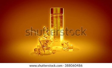 Summer orange background with a glass of water, ice and mineral water - stock photo