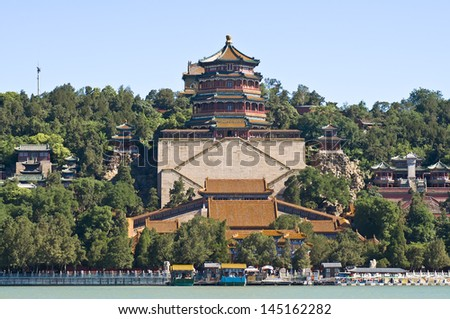 Summer Palace incense pavilion in Beijing,china  - stock photo