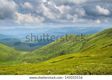 Summer panorama of Montenegrin mountain range - stock photo