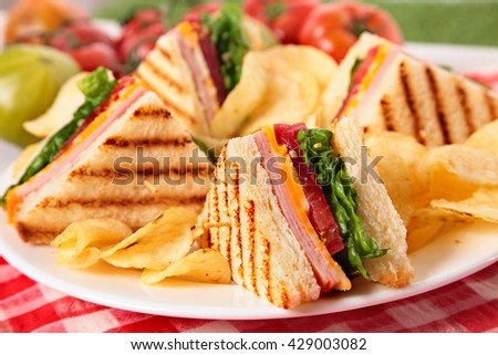 Summer picnic club sandwich ham and cheese, close up